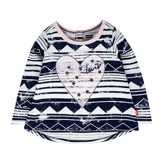 Levi's Baby Girls Embellished Crew Neck Long Sleeve Graphic T-Shirt
