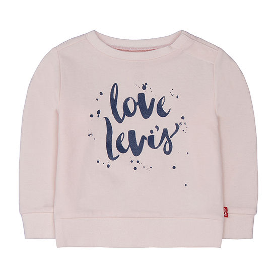 Levi's Baby Girls Crew Neck Long Sleeve Graphic T-Shirt