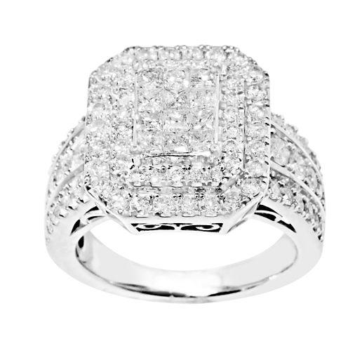 2 CT. T.W. Princess & Round Diamond Engagement Ring