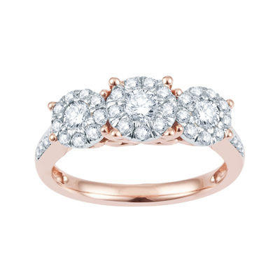 1 CT. T.W. Diamond & 10K Rose Gold Flower Engagement Ring