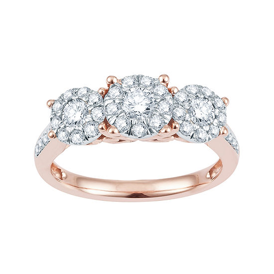 1 CT. T.W. Diamond & 10K Rose Gold Flower Engagement Ring