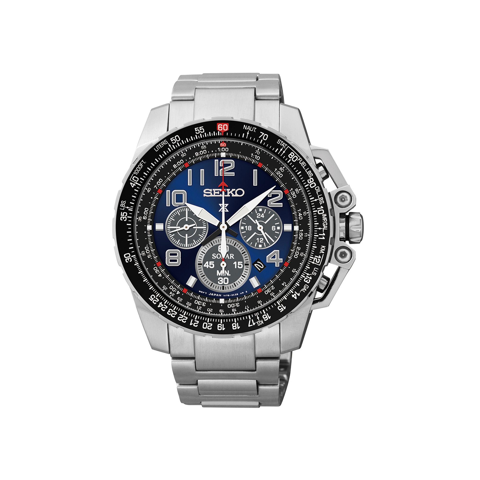 Seiko Prospex Aviator Mens Stainless Steel Solar Chronograph Watch SSC275