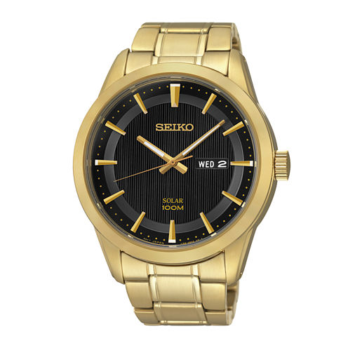 Seiko® Mens Gold-Tone Stainless Steel Solar Watch SNE368