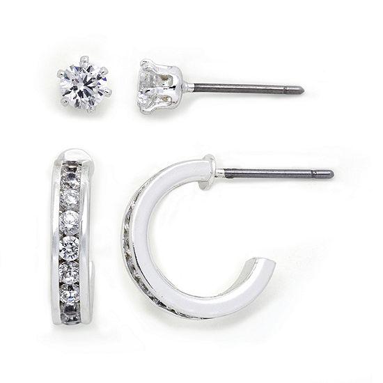 Sparkle Allure™ Cubic Zirconia 2-pr. Stud & C-Hoop Earring Set