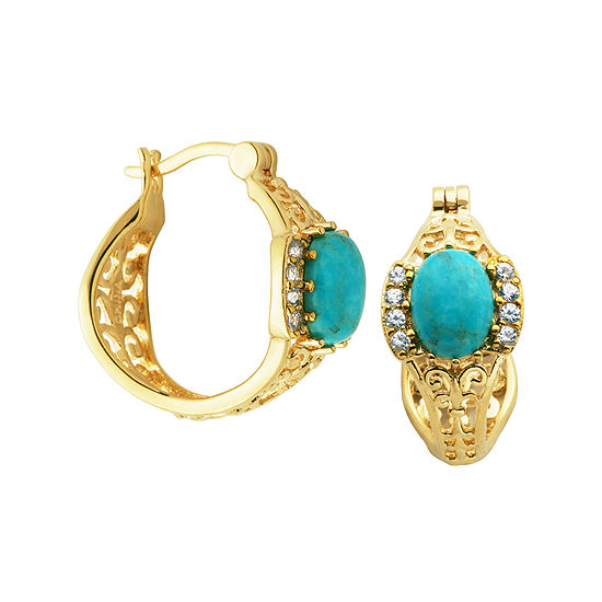 Turquoise and Lab-Created White Sapphire Hoop Earrings