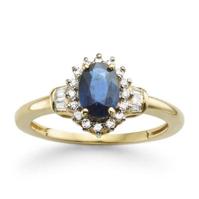 Fine Jewelry 1/4 CT. T.W. Diamond and Genuine Sapphire 10K White Gold Ring BkETAz0