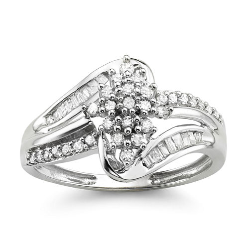 1/3 CT. T.W. Diamond 10K White Gold Cluster Ring