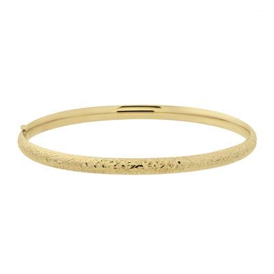 Infinite Gold™ 14K Yellow Gold Hollow Crystal-Cut Bangle Bracelet