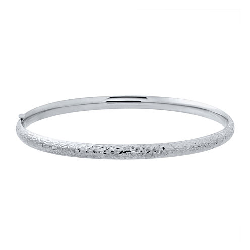 Infinite Gold™ 14K White Gold Hollow Diamond-Cut Bangle Bracelet