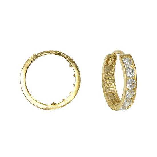 Girls 14K Yellow Gold Cubic Zirconia Hoop Earrings