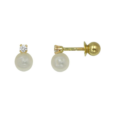 Girls 14K Yellow Gold Simulated Pearl & Cubic Zirconia Stud Earrings