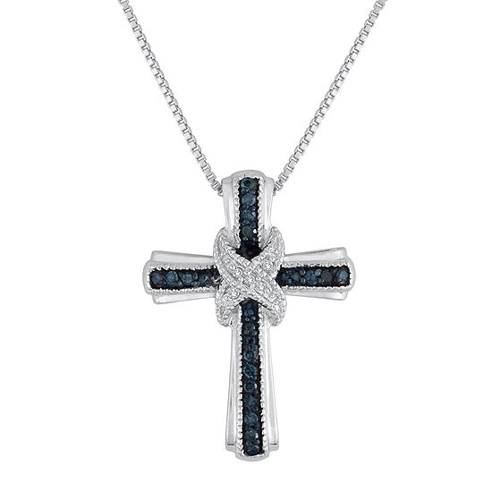 1/10 CT. T.W. White & Color-Enhanced Blue Diamond Cross Pendant Necklace