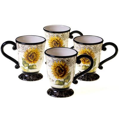 Certified International French Sunflowers Set of 4 Mugs