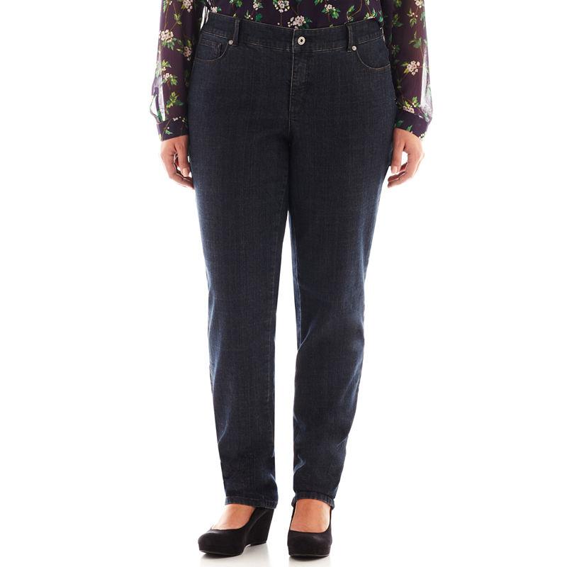 Liz Claiborne 5-Pocket Slim-Leg Jeans - Plus plus size,  plus size fashion plus size appare