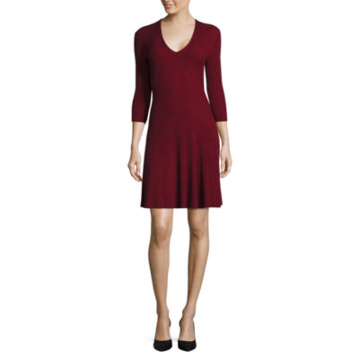 Worthington® 3/4-Sleeve Fit-and-Flare Sweater Dress