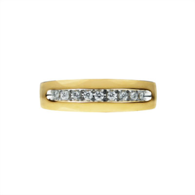 Mens 1/4 CT. T.W. Genuine Diamond 14K Gold Band