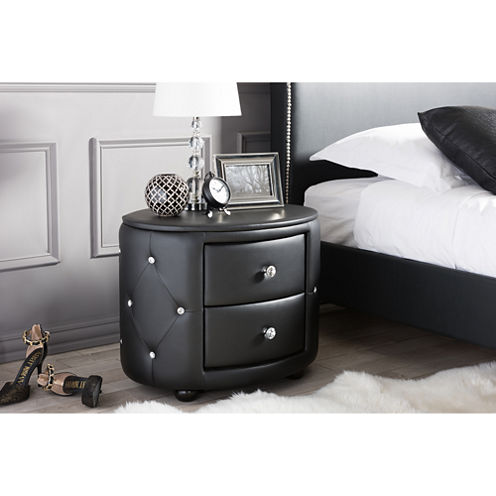 Baxton Studio Davina Hollywood Glamour 2-Drawer Faux- Leather Nightstand