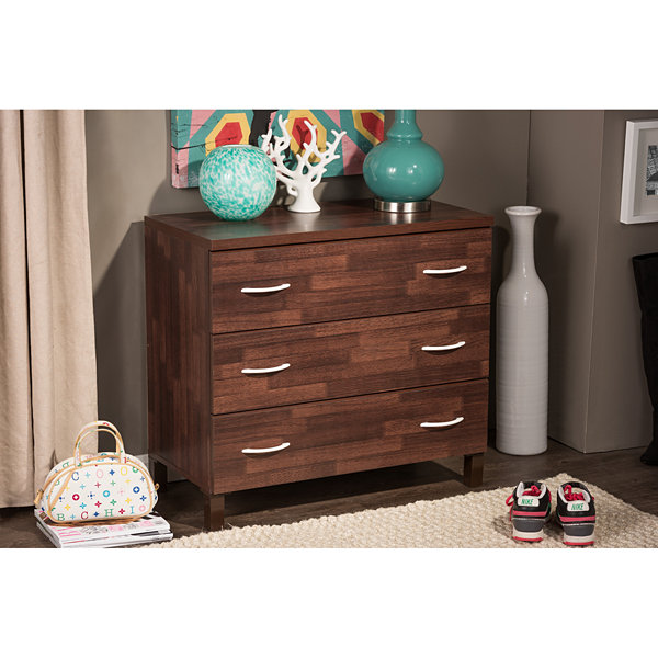 Baxton Studio Maison 3-Drawer Wood Chest