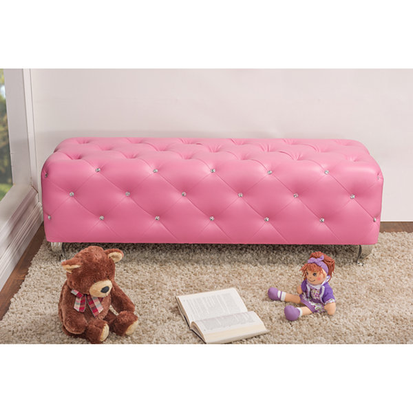 Baxton Studio Stella Crystal Tufted Leather Modern Bench