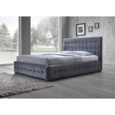 Baxton Studio Margaret Velvet Button-Tufted Platform Bed