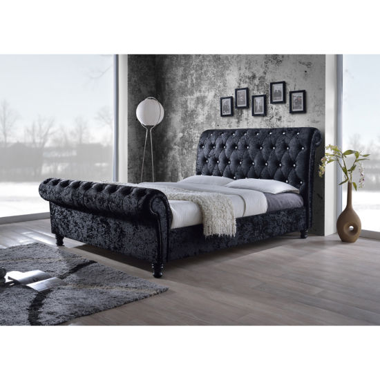 Baxton Studio Castello Velvet Upholstered Faux-Crystal Button Platform Sleigh Bed