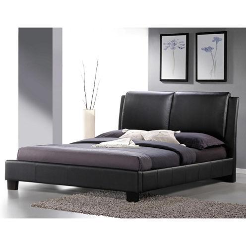 Baxton Studio Sabrina Modern Bed with Overstuffed Headboard