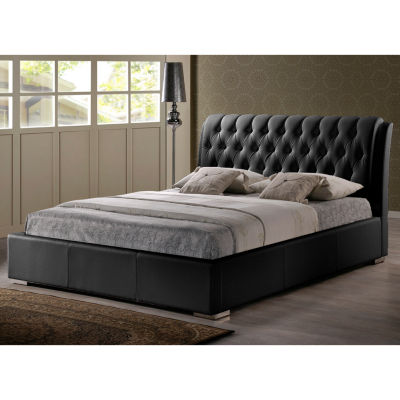 Baxton Studio Bianca Modern Bed with Tufted Headboard