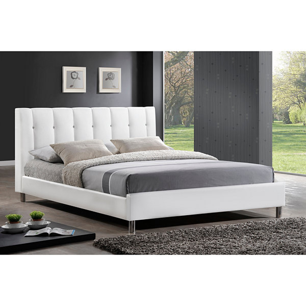 Baxton Studio Vino Modern Bed with Upholstered Headboard