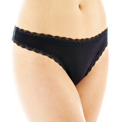 Flirtitude® Lace-Trim Thong Panties