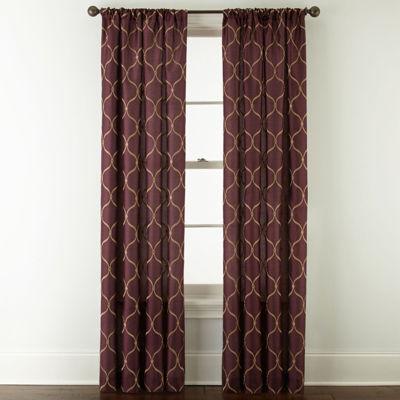 Royal Velvet® Geneva Embroidered Rod-Pocket Curtain Panel
