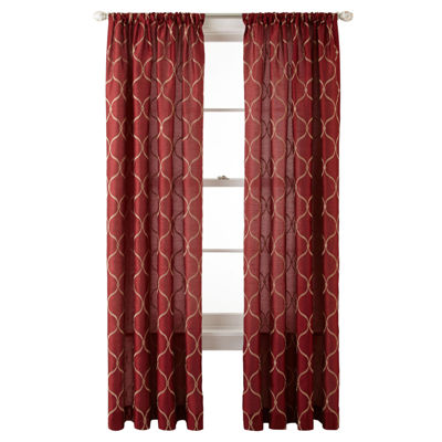 Royal Velvet® Geneva Embroidered Rod-Pocket Curtain Panel