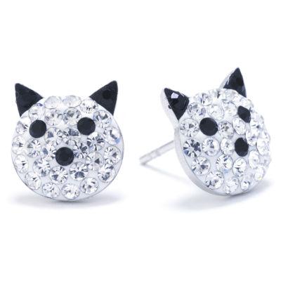 Silver Treasures Multi Color 12mm Stud Earrings