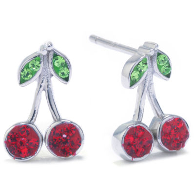 Silver Treasures Multi Color 12mm Cherries Stud Earrings