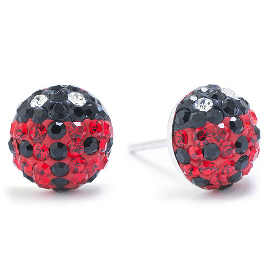 Silver Treasures Sterling Silver Crystal Lady Bug 9mm Stud Earrings