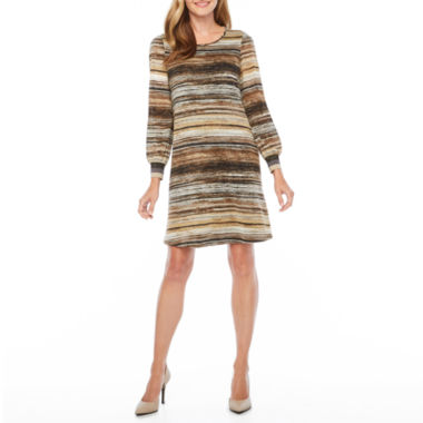 MSK 3/4 Sleeve Stripe Shift Dress