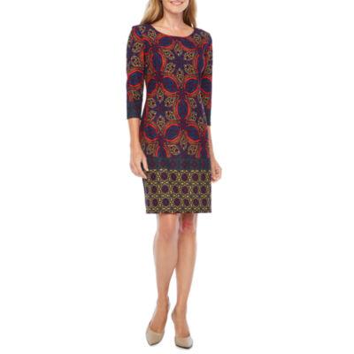 Be by CHETTA B 3/4 Sleeve Geometric Sheath Dress