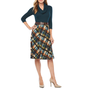 Robbie Bee 3/4 Sleeve Plaid Fit & Flare Dress