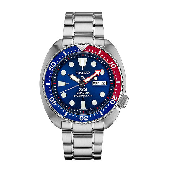 Seiko Prospex Dive Blue Dial Mens Automatic Silver Tone Stainless Steel Bracelet Watch-Srpa21