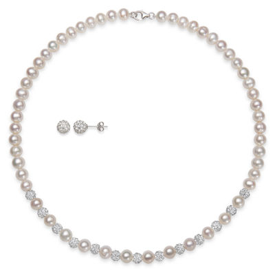 2 Pc Cultured Freshwater Pearl Necklace And Earring Set In Sterling