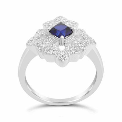 Womens Blue Sapphire Sterling Silver Cocktail Ring