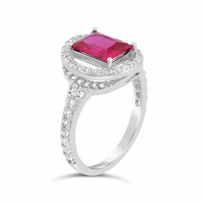 Womens Lab Created Red Ruby Sterling Silver Oval Cocktail Ring
