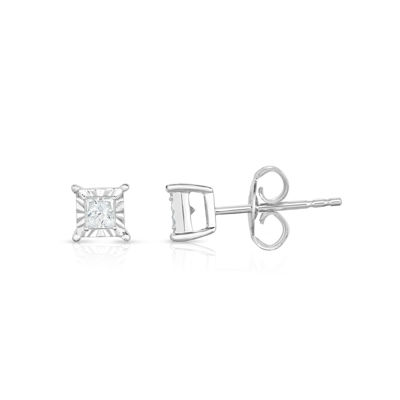 TruMiracle® 1/4 CT. T.W. Princess White Diamond 10K Gold Stud Earrings