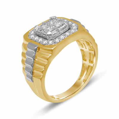 Mens 1 1/4 CT. T.W. Genuine White Diamond 10K Gold