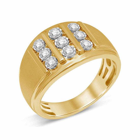 Mens 1/2 CT. T.W. Genuine White Diamond 10K Gold Fashion Ring