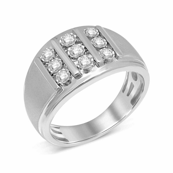 Mens 1/2 CT. T.W. Genuine Round White Diamond 10K