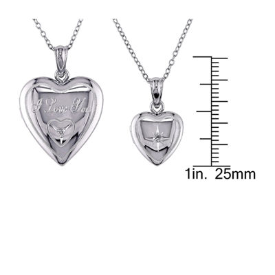 "Womens Diamond Accent Sterling Silver 18"" & 14"" Inch Pendant Necklace"