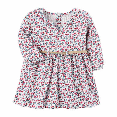 Carter s Long Sleeve Floral A Line Dress Baby Girls
