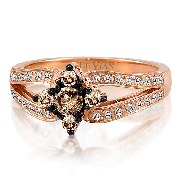Grand Sample Sale™ by Le Vian® 5/8 CT. T.W. Vanilla Diamonds® & Chocolate Diamonds® in 14k Strawberry Gold® Chocolatier® Ring