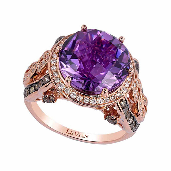 Grand Sample Sale™ by Le Vian® Grape Amethyst™ & 1 CT. T.W. Vanilla Diamonds® and Chocolate Diamonds® in 14k Strawberry Gold® Ring