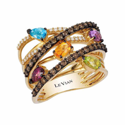 Grand Sample Sale™ by Le Vian® Grape Amethyst™, Raspberry Rhodolite®, Cinnamon Citrine®, Green Apple Peridot™, 1/10 CT. T.W. Vanilla Diamonds®& Chocolate Diamonds® in 14K Honey Gold™ Ring